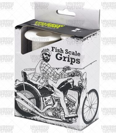 Lowbrow Customs Fish Scale Grips - White - 1inch