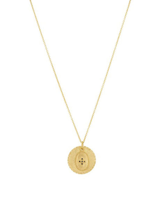 Double gold medal pendant with black zircon.