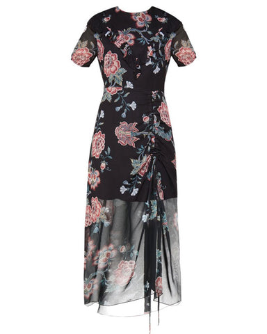 Biliardo Georgette Dress Multi Black Flowers - shopatstocks
