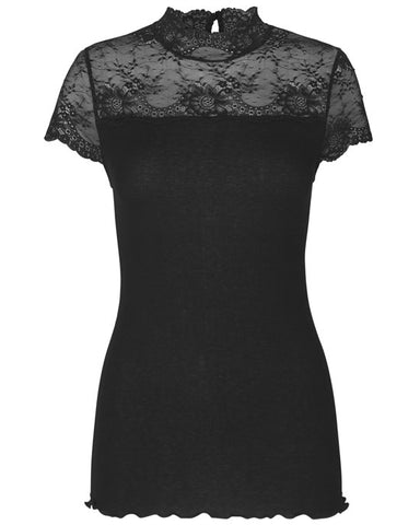 BOURGOGNE High Neck Top w Lace