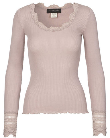 Silk top long sleeve Vintage Powder