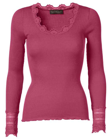 Babette Long Sleeve Top w Lace cuff - mix colours available
