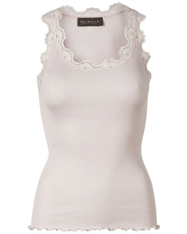 Classic silk top w Lace Soft Rose