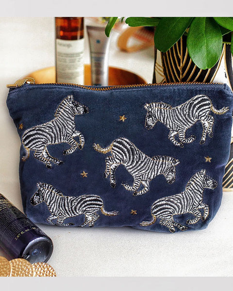 Zebra Indigo Velvet Make Up Bag