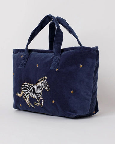 Zebra Indigo Velvet Day Bag