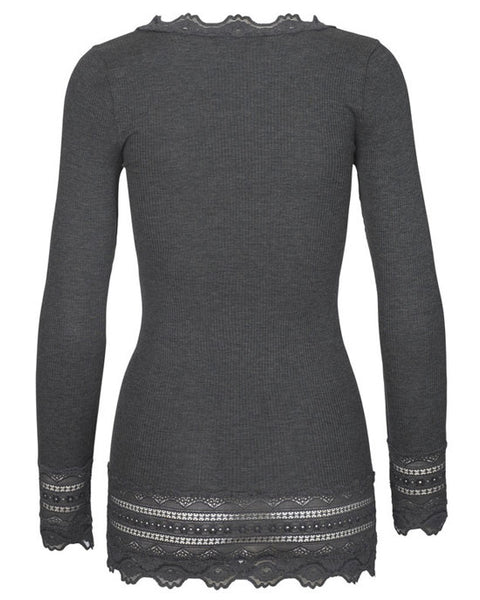 Long Sleeve Top w/wide Lace - Dark Grey Melange - shopatstocks