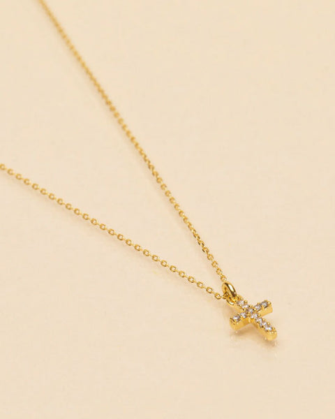 White Zircon Cross Necklace