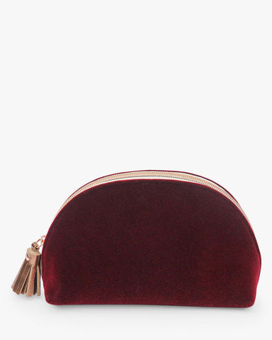 Burgundy Velvet Halfmoon Cosmetic Bag