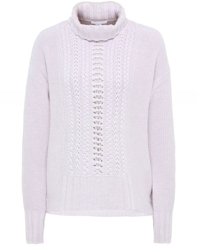 CASHMERE TEXTURE CABLE T-NECK