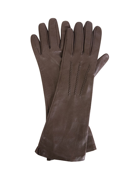 Ladies leather mid length glove w silk lining