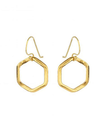 Hexagon Earrings Gold Plated