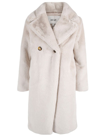 Long Faux Fur Coat Off White