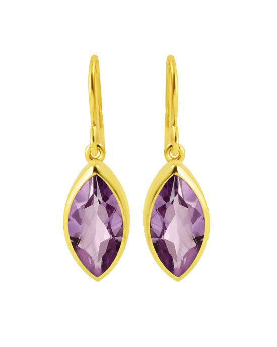 Marquise Earrings Gold Amethyst