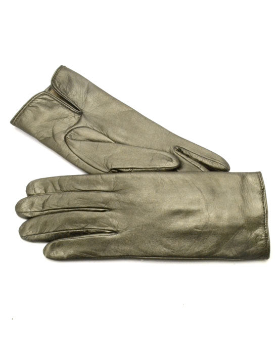 Ladies metallic leather gloves w cash lining - shopatstocks