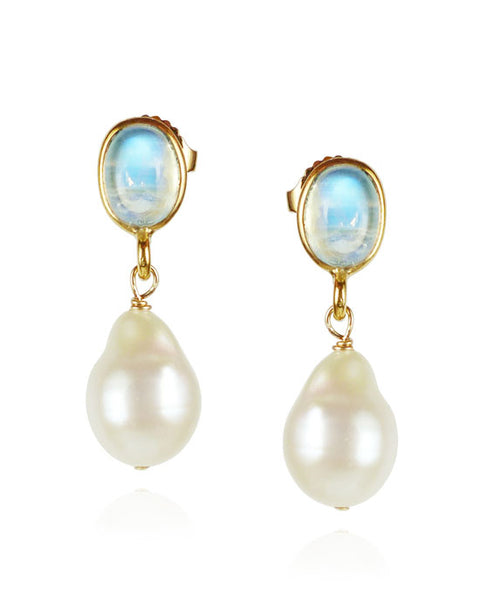 Moonstone and Pearl Drop Earrings