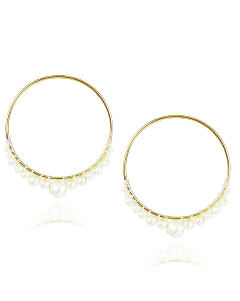 White Pearl Hoop Vermeil Earrings