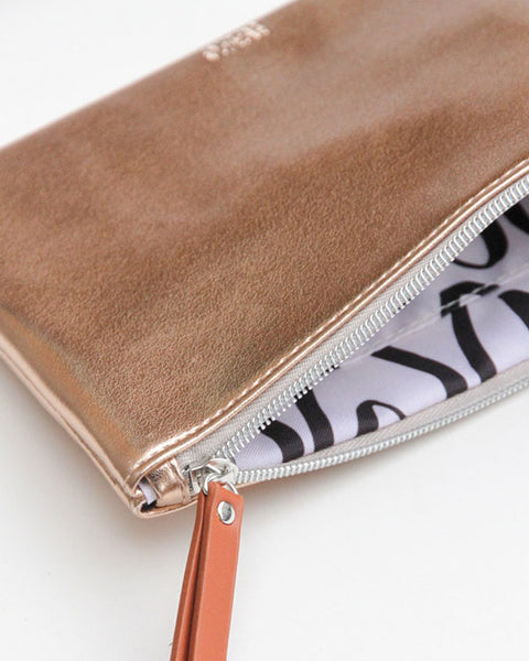 Rose Gold Pouch with Green Pom - shopatstocks