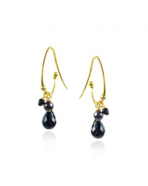 Gold Cluster Black Onyx Earrings