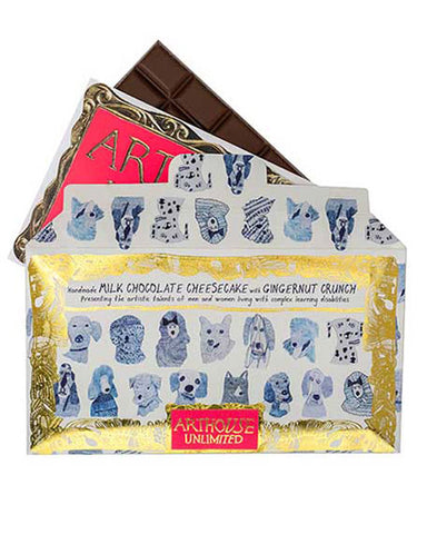Chocolate Bar 'Blue Dogs' Milk Chocolate Cheesecake with Ginger Nut Crunch - shopatstocks