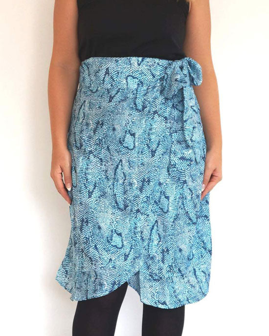 Wrap Skirt Aqua Blue Snake - shopatstocks