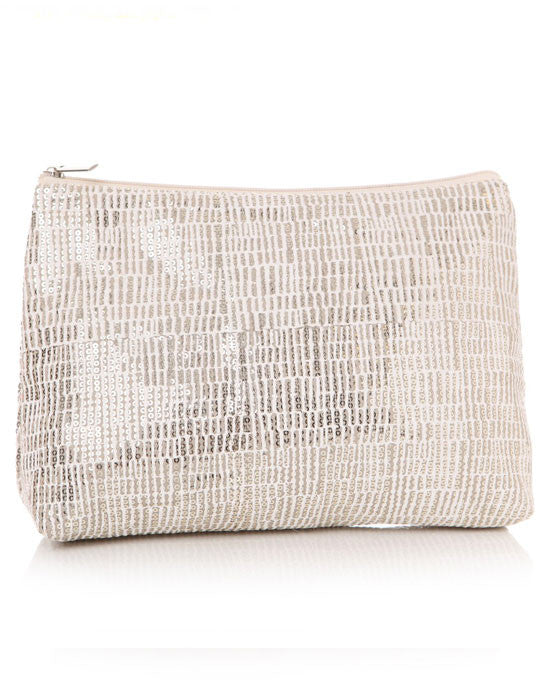 Sequin cream cosmetic bag