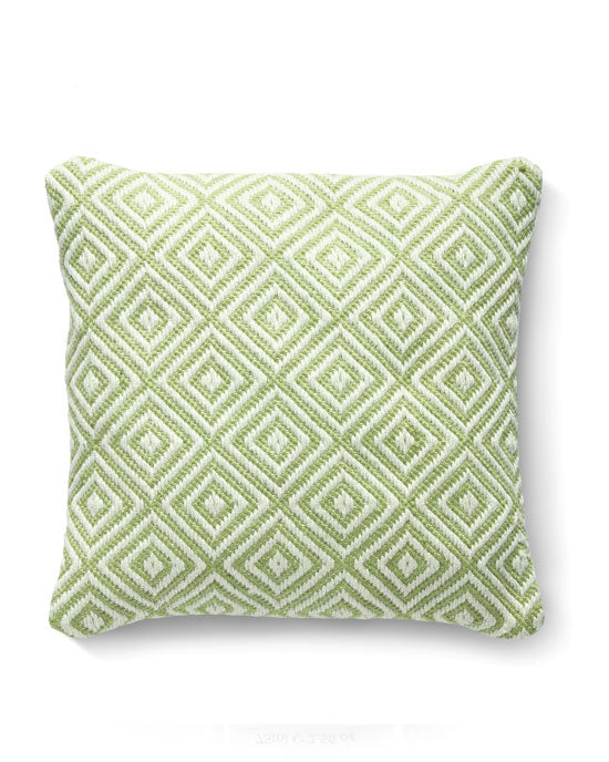 Woven Diamond Cushion Green