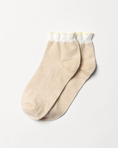 Dolly Herringbone Frill Sock Nutmeg White - shopatstocks