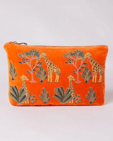Giraffe Orange Velvet Washbag