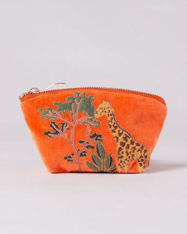 Giraffe Orange Velvet Coin Purse - shopatstocks