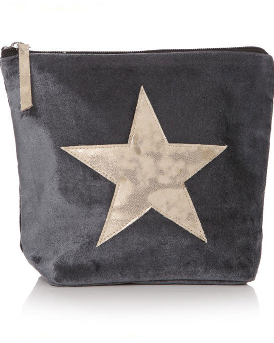 Grey and gold star wash bag