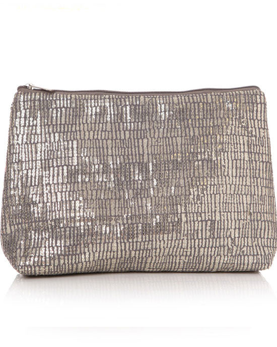 Sequin grey cosmetic bag