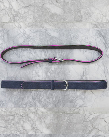 Navy Belt w Pink Edge