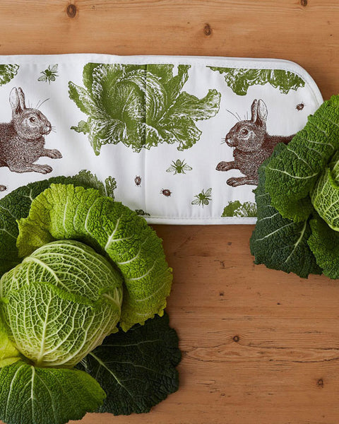Double oven glove - rabbit & cabbage
