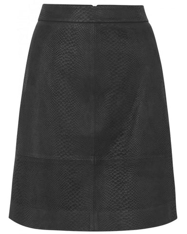 Black Leather Skirt Snake effect