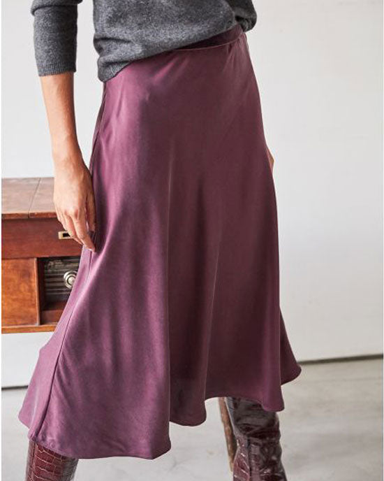 Midi silk satin skirt (Black Cherry or Black)