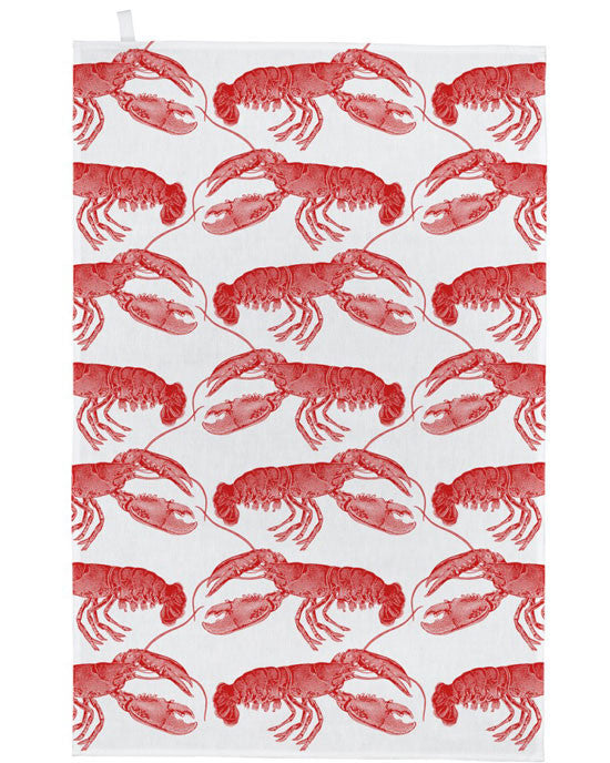 Tea towel - lobster, coral