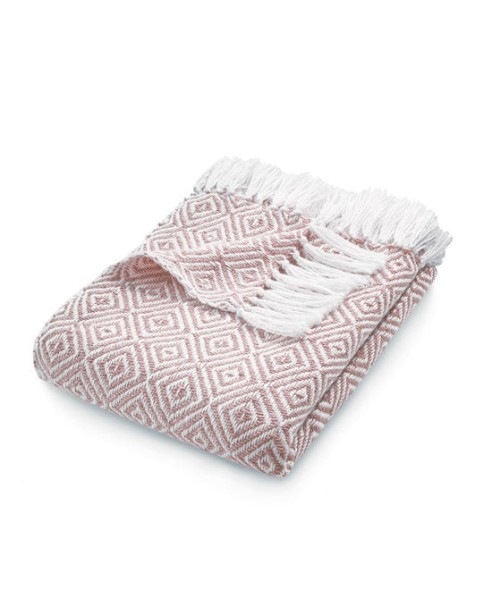 Woven Diamond Throw Rose
