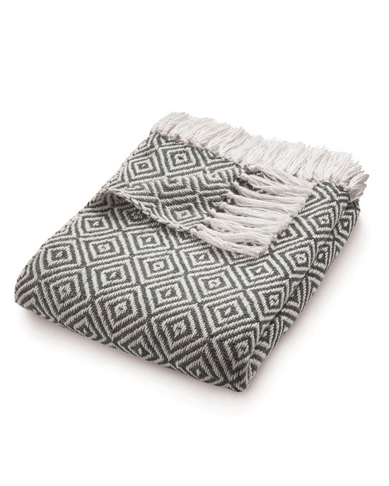 Woven Diamond Throw Warm Grey