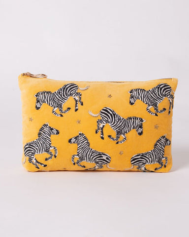 Zebra Mustard Velvet Washbag - shopatstocks