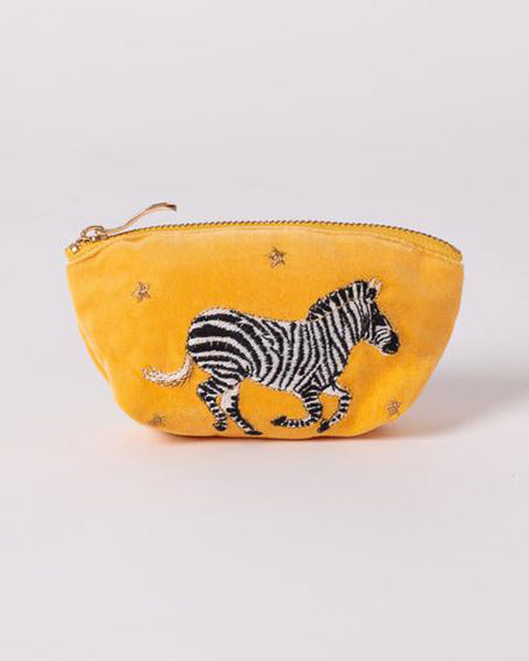 Zebra Mustard Velvet Coin Purse - shopatstocks