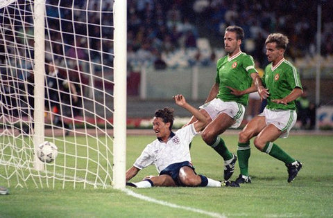 Ireland concede an early goal against England in the 1990 World Cup.