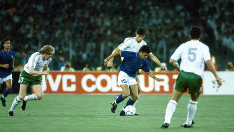 The Irish chase  Italian star Roberto Baggio in the 1990 World Cup.