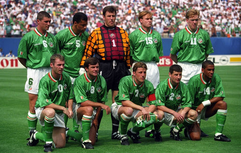 Irish players line up for a team photo at the 1994 World Cup in the USA.