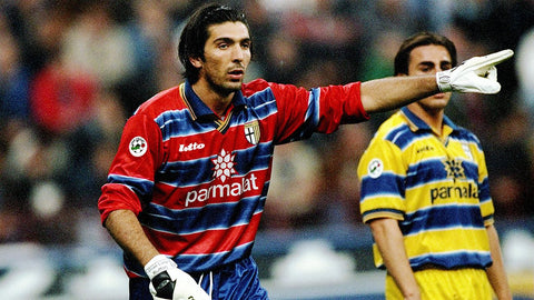 Young keeper Gianluigi Buffon directs his defence.