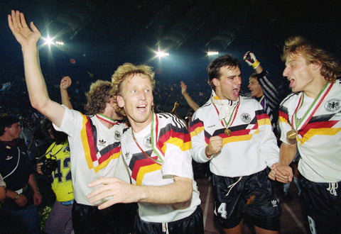 The West Germans celebrate after winning the 1990 World Cup.