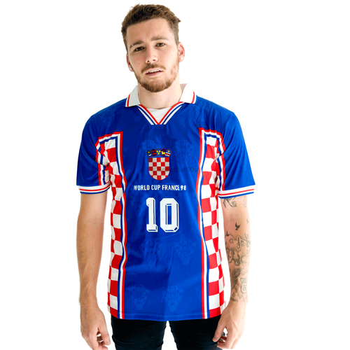 1998 Croatia World Cup Away blue replica retro football shirt
