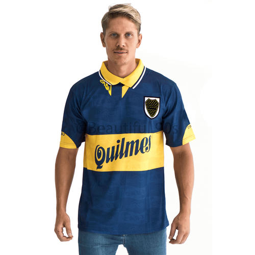 1996 Boca Quilmes Home retro replica football shirt
