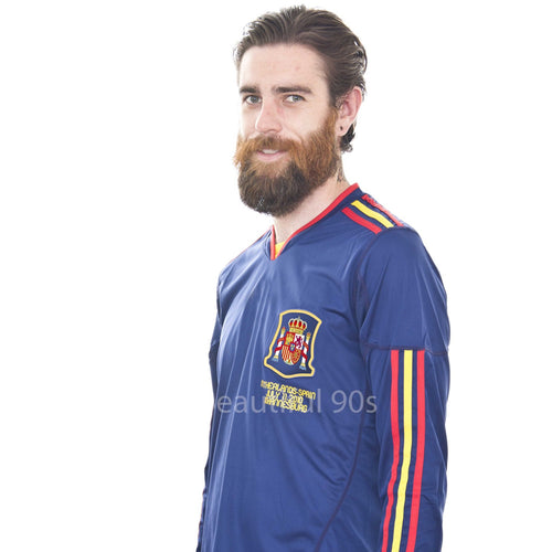 2010 Spain Ramos Iniesta away blue long sleeve retro replica football shirt