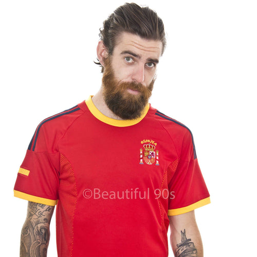 2002 Spain Hierro Xavi home retro replica football shirt
