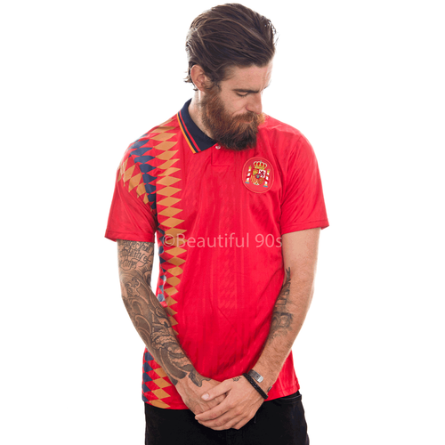 1994 Spain home replica retro football shirt